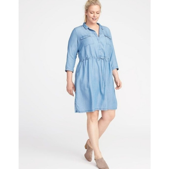 Old Navy plus size chambray shirt dress